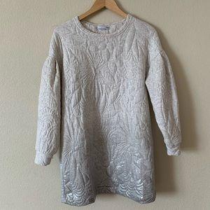 Zara Textured Print Long Sleeve Dress
